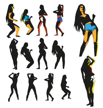 ragazze che ballano: ragazze che ballano in silhouettes set