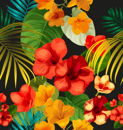 pink plumeria: Illustration of floral seamless pattern Illustration