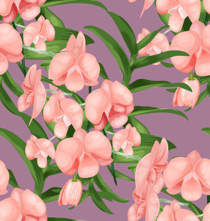 orchidea: Illustration of orchid seamless pattern