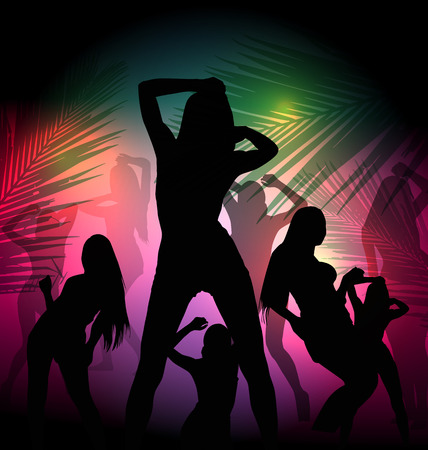 vocation: silhouette dancing girl in party Illustration