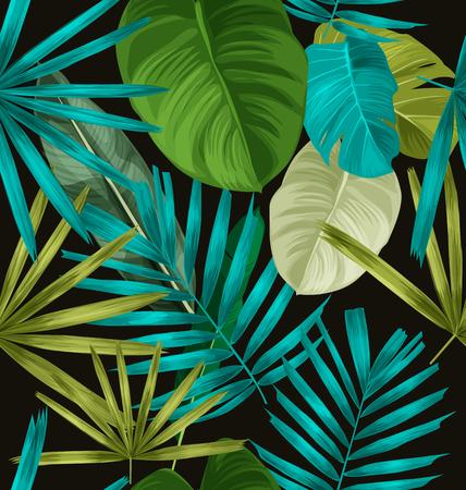 Palma tropical deja patrón transparente.