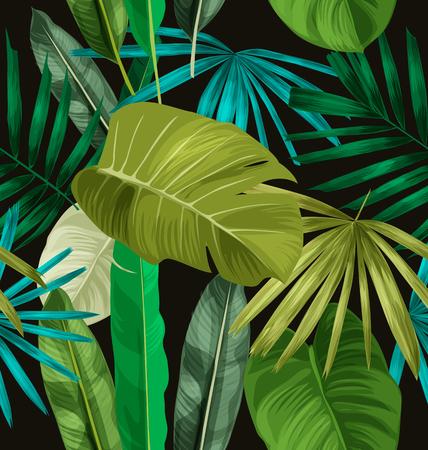 Tropical feuilles seamless pattern. Vecteurs