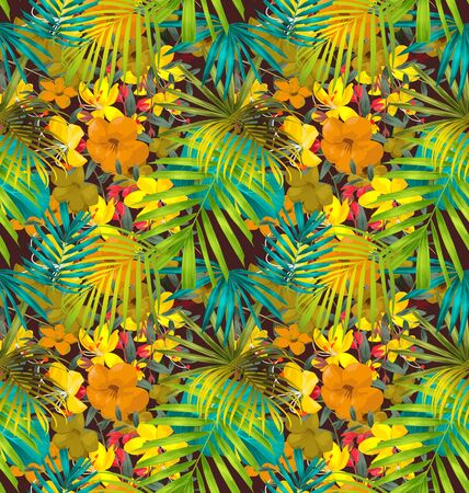 luau party: Vector Illustration of  floral seamless pattern