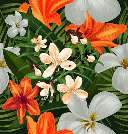 tahiti: Illustration of floral seamless pattern Illustration