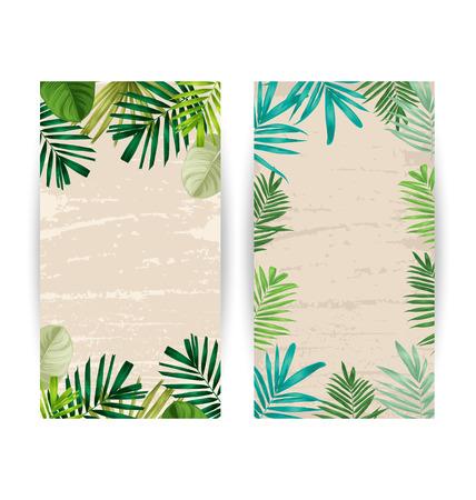 tahiti: Illustration of  tropical plant banner