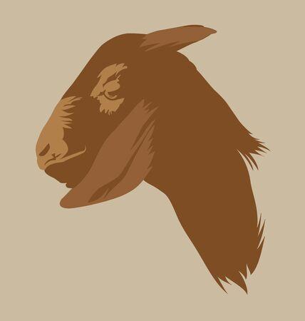 goat head: Illustration of silhouette goat head