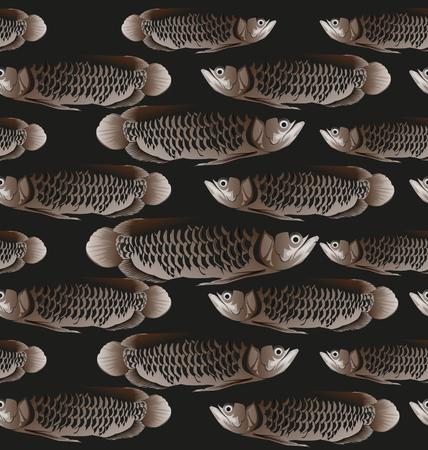 Illustration of  Asian Arowana fish seamless pattern
