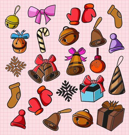 Illustration of  freehand drawing dooddle christmas elements Illustration