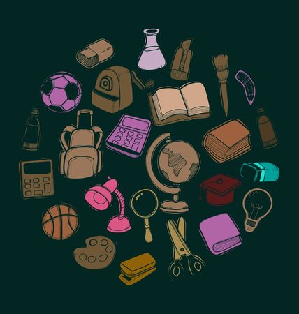 Illustration of  freehand drawing school items