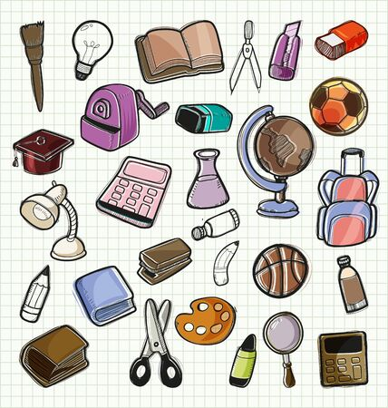 rough draft: Illustration of  freehand drawing school items