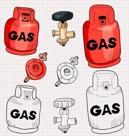 propane: Illustration of propane gas cylinder and accessory