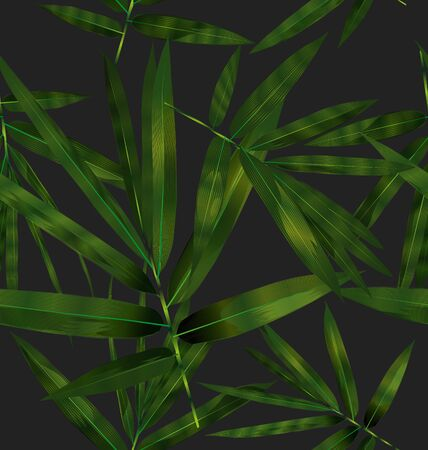 Illustration of bamboo leaves seamless pattern