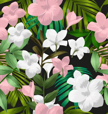 Illustration of Plumeria pudica seamless pattern