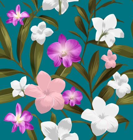 Seamless floral patterns with Plumeria pudica flower. Illustration