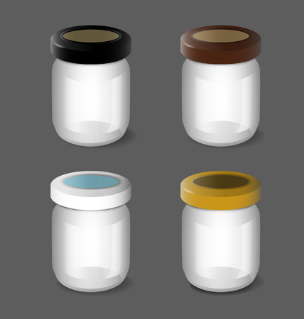 Illustration of glass jars set . Illustration