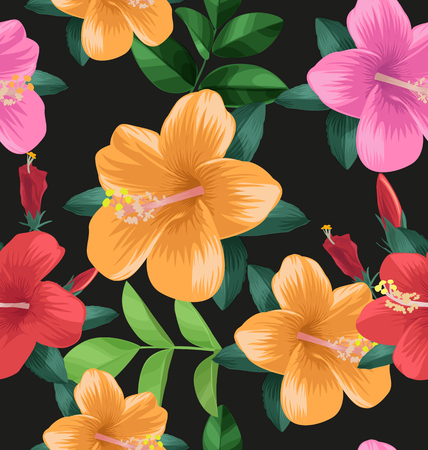 Hibiscus flower seamless pattern on dark background