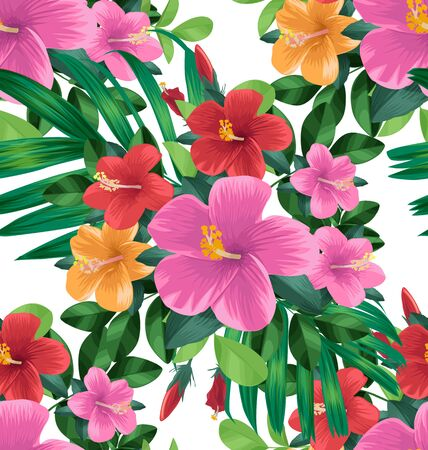Hibiscus flower seamless pattern on white background Illustration