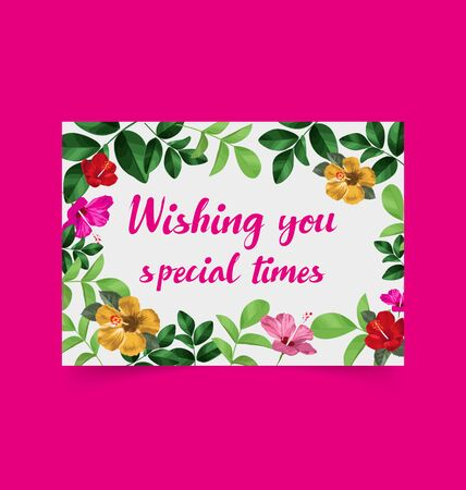 Illustration of  greeting card with leaf and floral