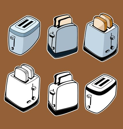 Illustration of sketchy toaster set