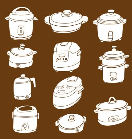 Illustration of sketchy doodle electric cooker set. Illustration