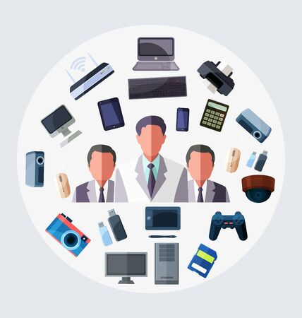 Avatar businessmen with technology accessory