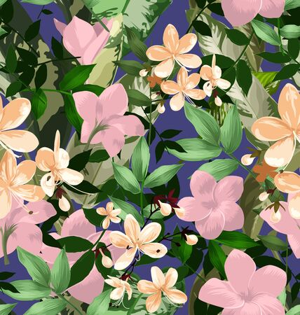 bedcover: Illustration of  floral seamless pattern