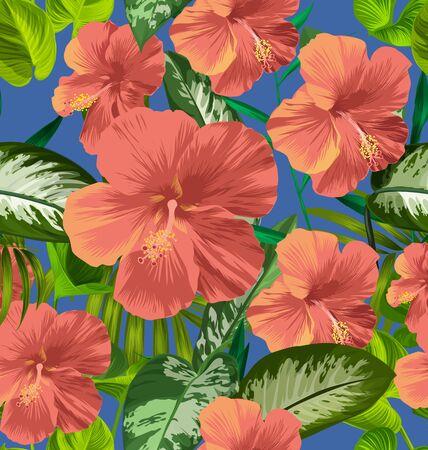 Illustration of Hibiscus seamless pattern