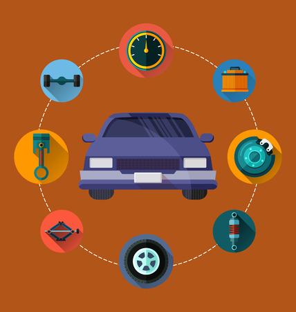 car brake: Vector Illustration of  auto spare parts .