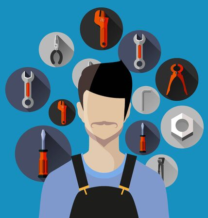 Vector Illustration of tools and equipment flat design with long shadow. Illustration