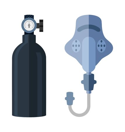 compressed air: Vector Illustration of  oxygen cylinderl and mask flat icon Illustration