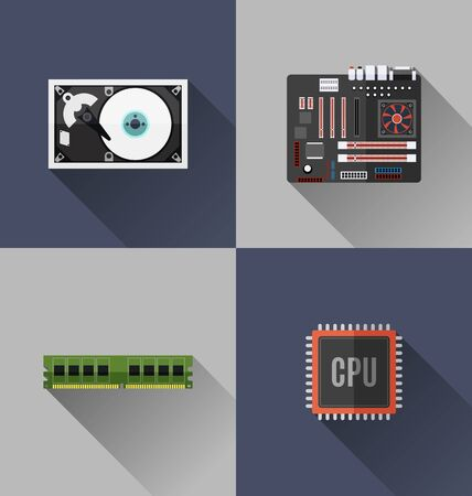 Vector Illustration of computer hardware flat design with long shadow. Illustration