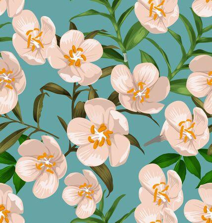 Vector Illustration of floral seamless pattern.( Peregrina, Spicy jatropha )