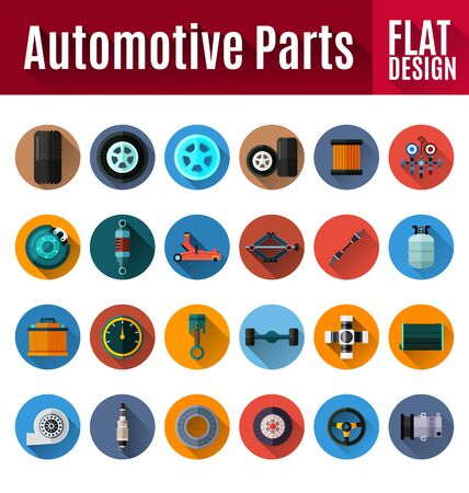 shaft: Vector Illustration of  automotive spare parts flat icon design. Illustration