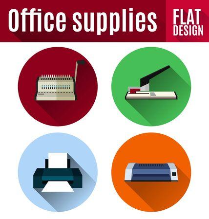 Vector illustratie van kantoorbenodigdheden platte ontwerp pictogrammenset, (comb bindende machine, nietmachine, laminator, printer).