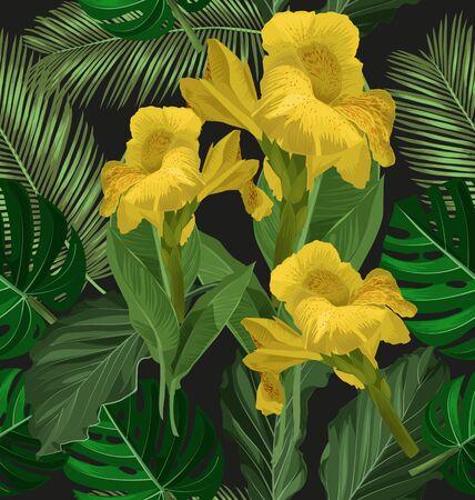 repeated: Vector Illustration of  Cannaceae flower seamless pattern. Illustration
