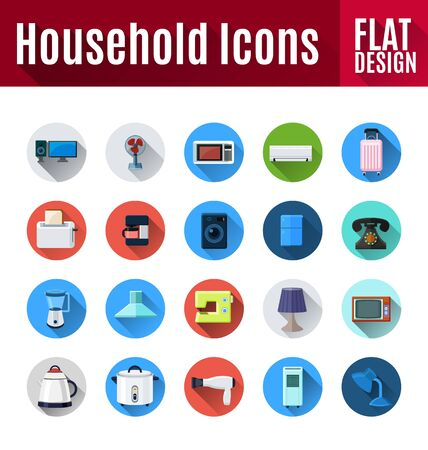 Household Appliances and Electronic Devices flat icons. Çizim