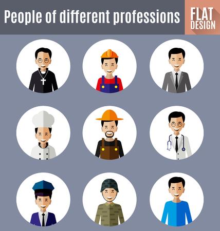 Set of different professions in avatar flat design. Çizim