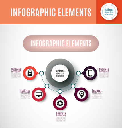 Business process chart infographics with 5 step segments. Circular corporate timeline infographic elements. Company presentation slide template. Modern vector info graphic layout design. Vectores