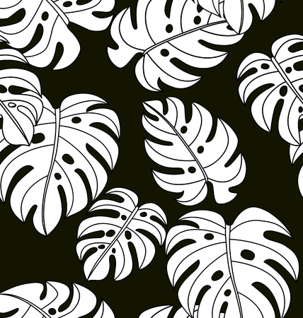 Vector Illustration of  black and white tropical plants seamless pattern.
