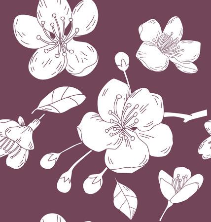 Seamless background with  Sakura flowers illustration. Illustration