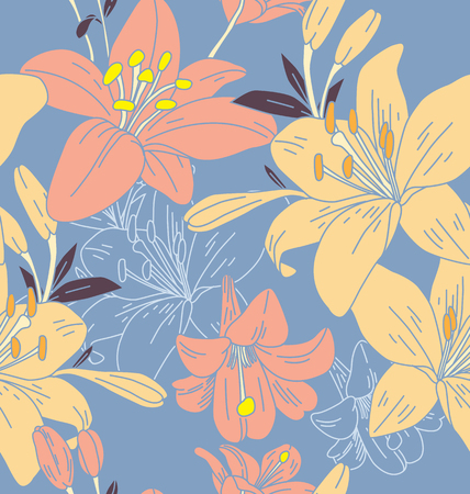Seamless background with  Lilly flowers illustration. Ilustração