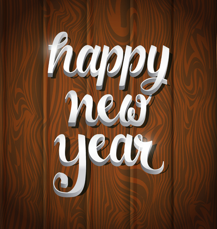 Happy New Year golden typography on wooden texture background
