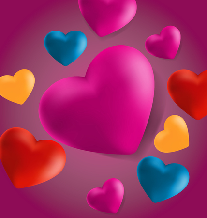 Realistic Valentine Hearts in pink Background . Vector Illustration