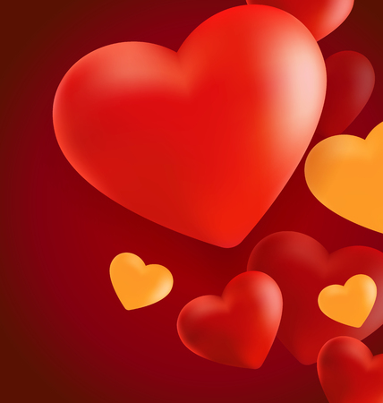 Realistic Valentine Hearts in Red Background . Vector Illustration