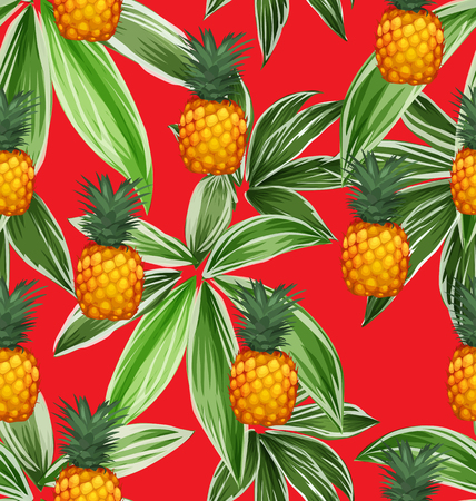 Pineapples on the background of tropical plant. Vector seamless pattern.