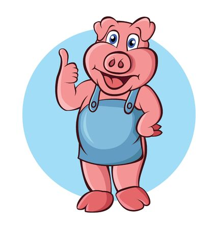 Vector illustration of cute pig with thumb up.