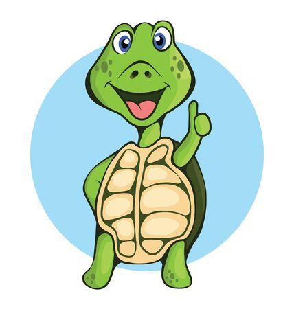 Vector illustration of cute turtle with thumb up.