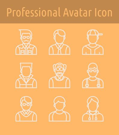 Set of professional avatar  linear  icon. Banque d'images - 133093298