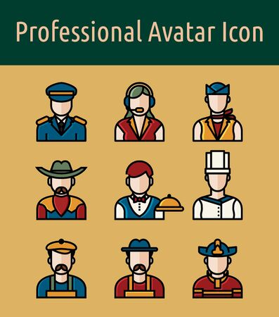 Set of professional avatar  linear color icon. Banque d'images - 133093657