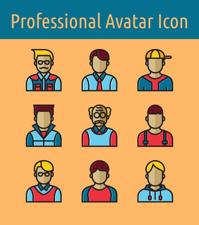 Set of professional avatar  linear color icon. Banque d'images - 133205048